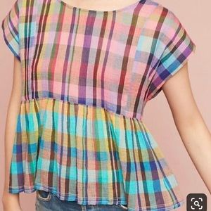 Anthropologie Tops - Anthropology Holding Horses Plaid Blouse